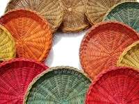 Vintage Wicker Rattan Colored Paper Plate Holders Set of 14