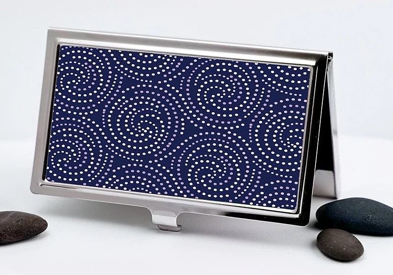 Handmade Business Card Case, Starlight Swirl Design in Navy Blue and White Dots, Retro Credit Card Case Men or Women's Accessory