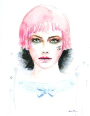 chanel girl with pink hair watercolor