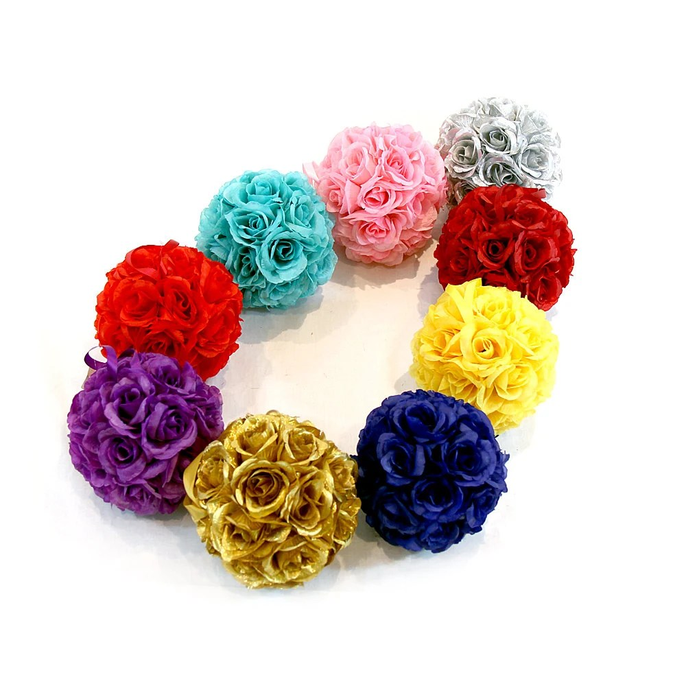 "6"" Silk Rose Kissing Pomander Balls for Wedding Reception Decor and Party Decorations - wecanpackage"