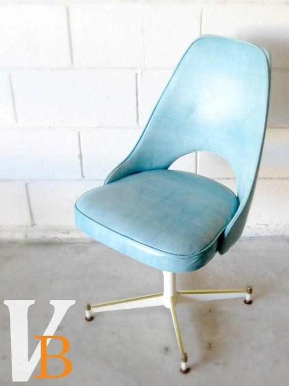 Vintage Blue Vinyl Office Chair 1960s Retro Mod by Verdibou