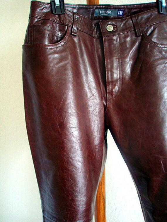 Burgundy GAP Leather Pants Boot leg Cut Distressed Vintage