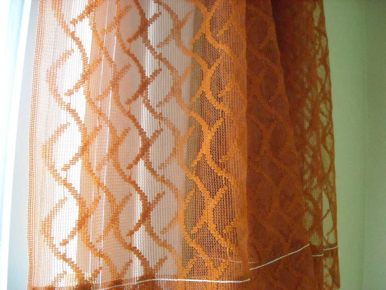 Sheer Curtains Burnt Orange Rust Color Netted Drapes By EMWvintage