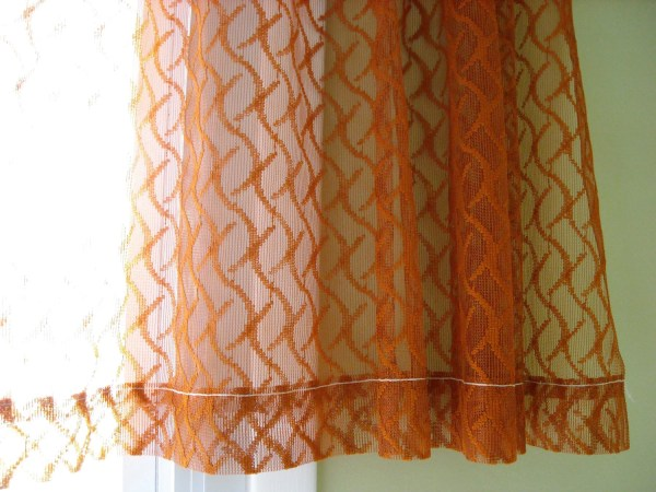 Sheer Curtains Burnt Orange Rust Color Netted Drapes