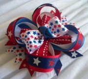 girls patriotic hair bow red white