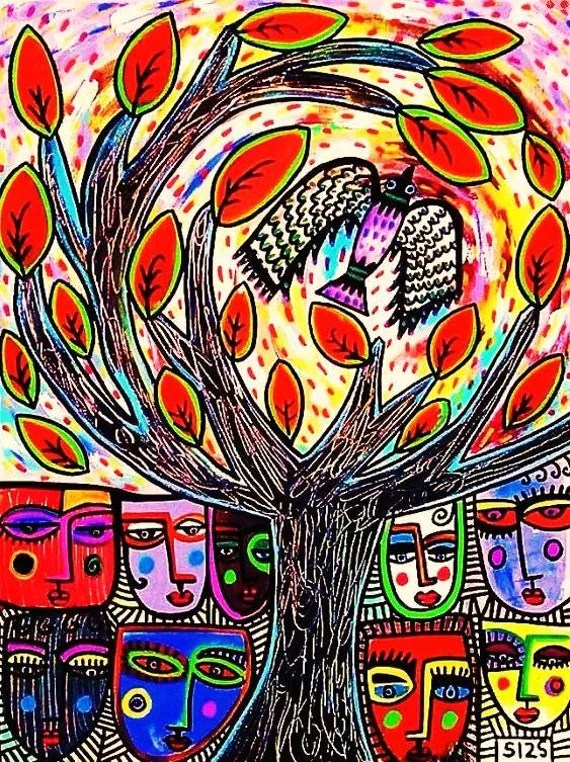 Phoenix Tree of Life' - SILBERZWEIG ORIGINAL Art PRINT - Talavera, People, Rebirh, Circle Of Life, Arise From The Ashes, Symbol Of Hope,