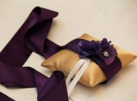 Purple Gold Pillow Wedding Ring for Dogs, Purple Flower on