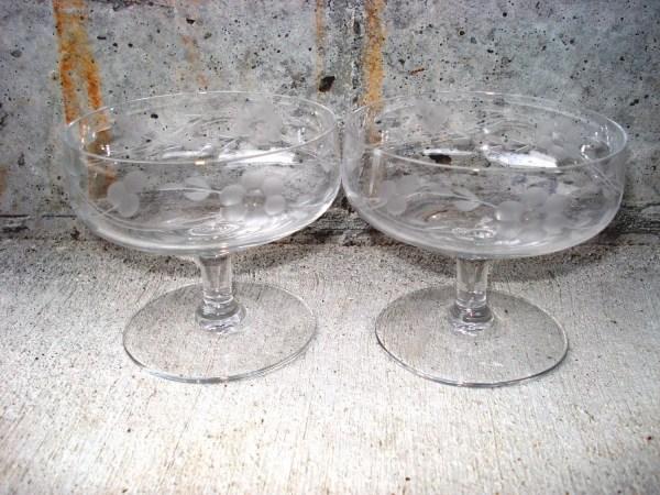 Vintage Princess House Cocktail Glasses Set Of 2 Etched
