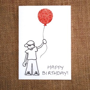 birthday happy boy drawing simple handmade cards greeting balloon him