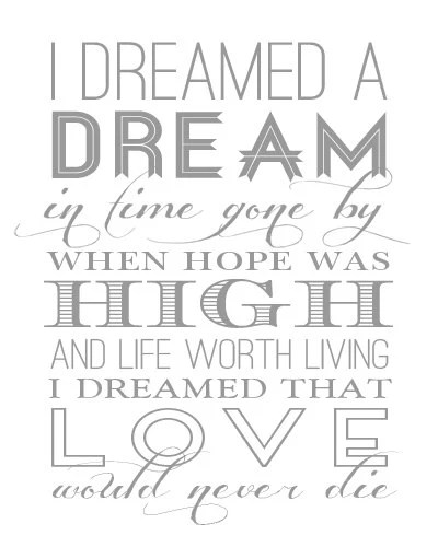 Les Miserables I DREAMED a DREAM Quote modern by