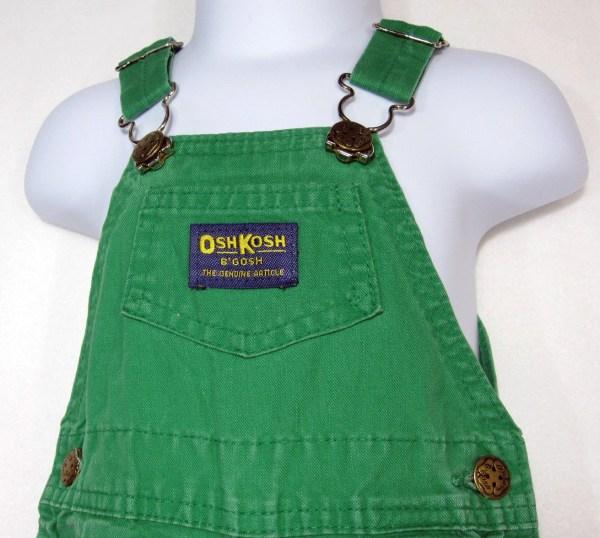 Vintage Green Oshkosh 'gosh Vestbak Overalls Kids
