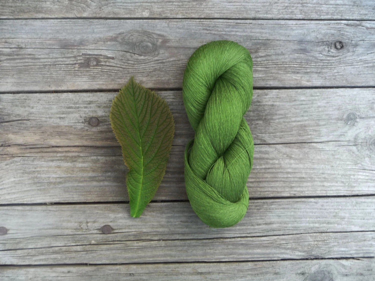 Linen Thread skein in natural green color - thread for summer projects - YarnStories