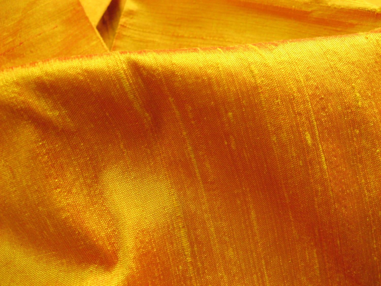 Golden yellow raw silk dupioni handloom fabric fat quarter