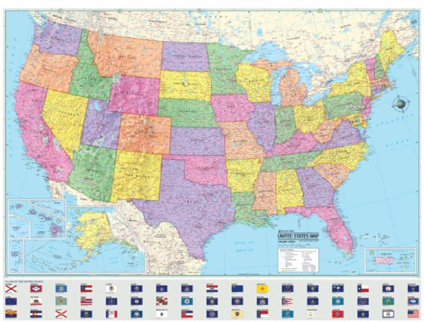 UNITED STATES Wall Map USA State Flags Poster by CoolOwlMaps