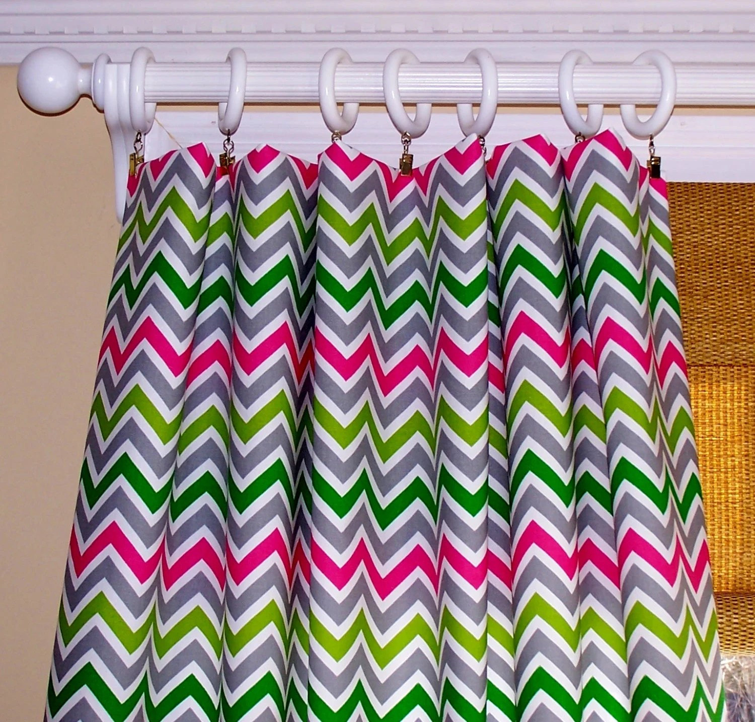 Multi Colored CHEVRON CURTAINS Candy Pink Grey Green Lime