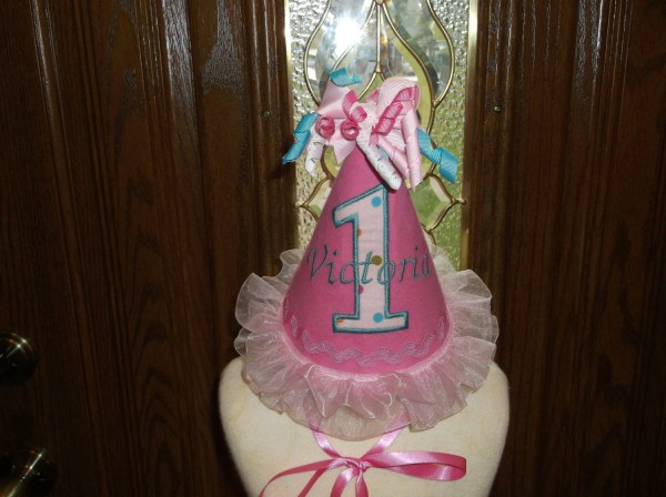 Girls Birthday Party Hat Pink 1st