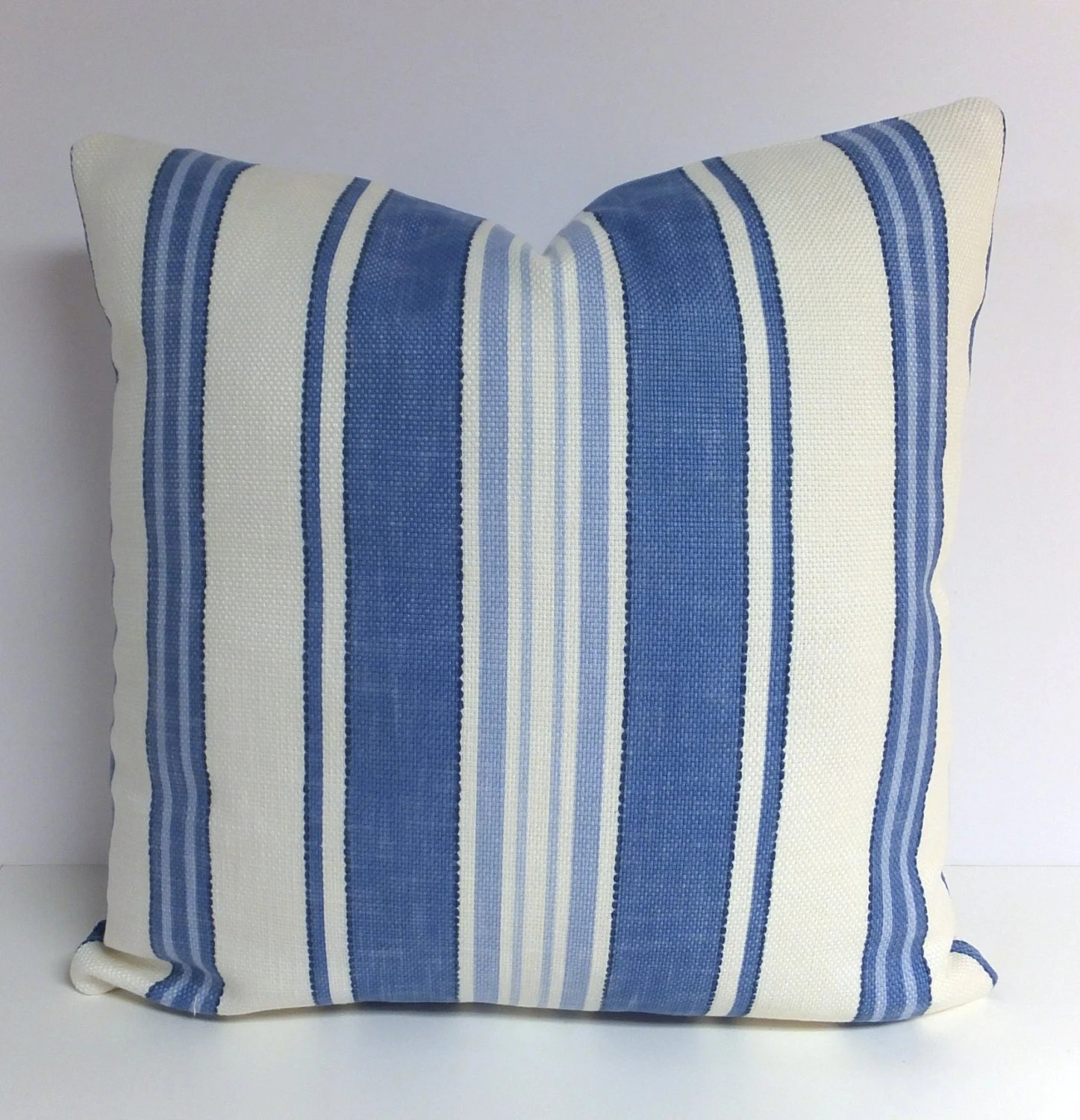 Blue Pillow  Blue and White Stripe Pillow  P by StudioAire