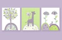 Green and Purple Nursery Nursery Wall Art by