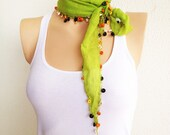 Neon Green Cotton Scarf With Colorful Wooden Beads - cookieletta