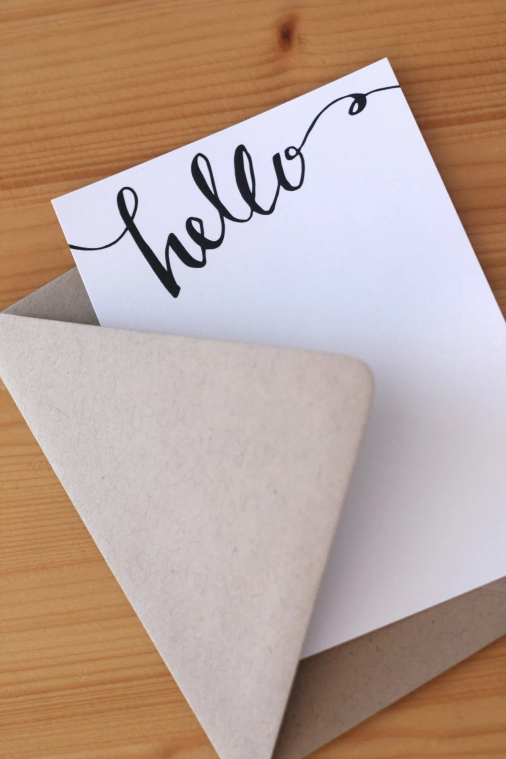 Hello Cards - Blank Cards - Flat Note Cards - Set of 8 - RebekahDischDesign