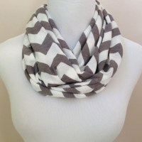 NO. 1 Infinity Scarf Gray & White Chevron by ...