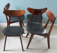 Mid Century Danish Modern Dining Chairs Set of 4
