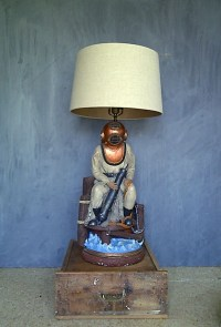 RARE Apsit Brothers Deep Sea Diver Table Lamp Statue