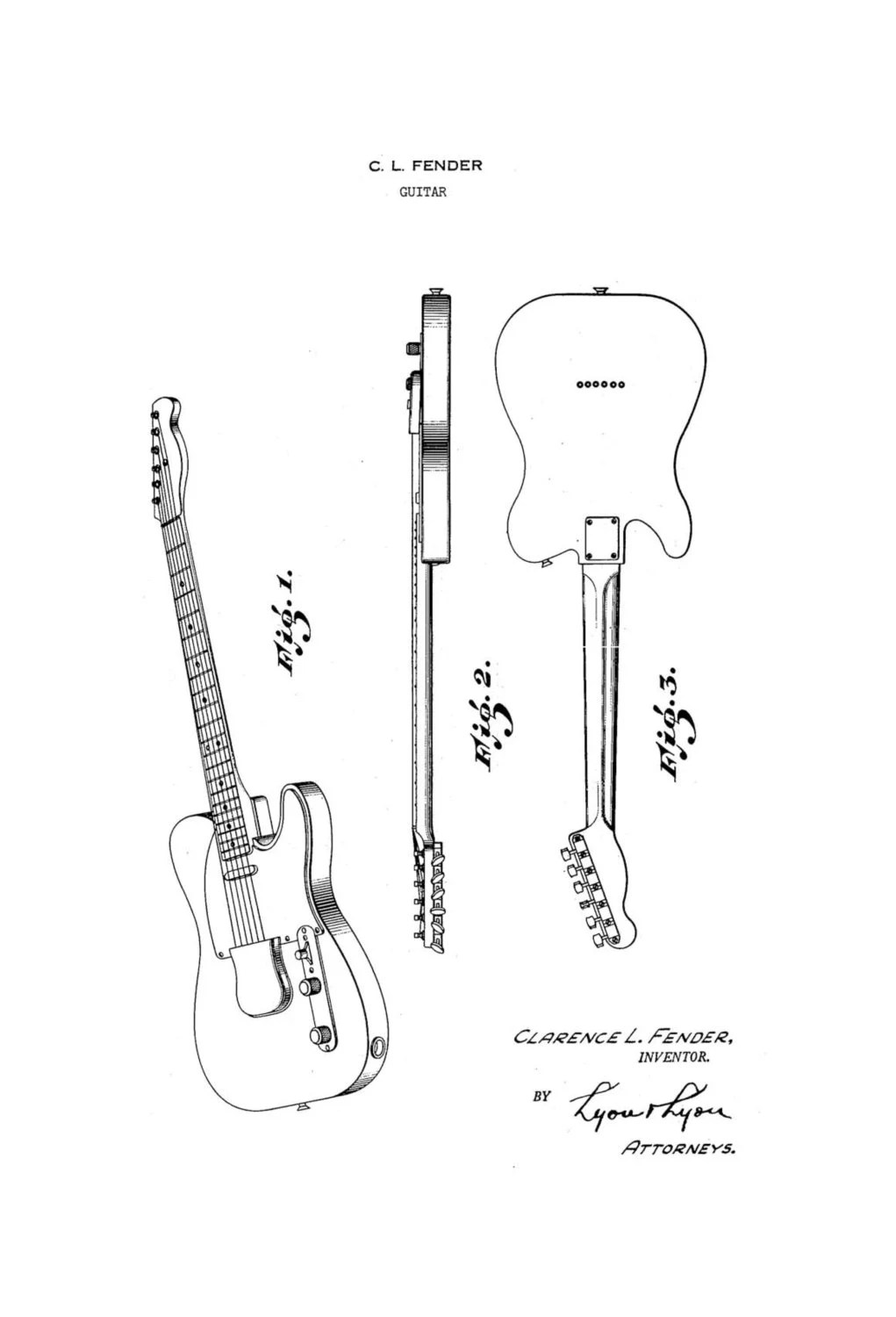 Gibson Les Paul Electric Guitar 1950's Patent Art Drawing