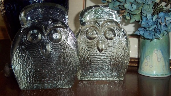 Pair Of Clear Blenko Hand Blown Glass Owl Bookends