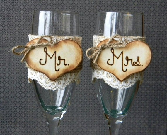 Mr. & Mrs. Glasses Champagne Flutes Rustic By Justforkeeps