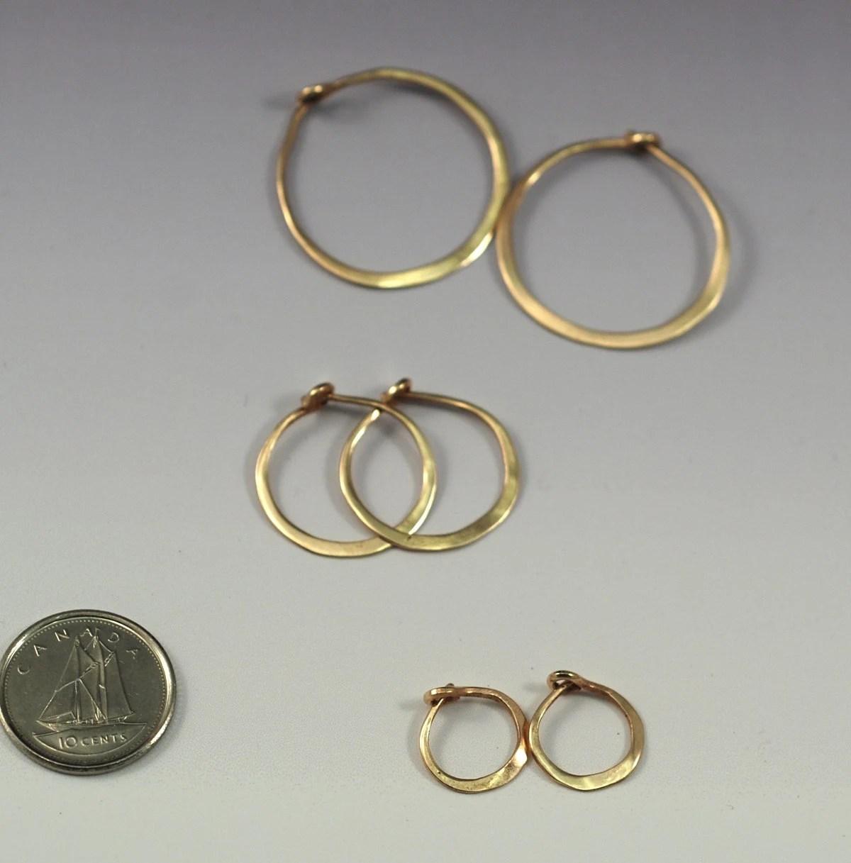 3/4 Inch Solid 14k Gold Hoop Earrings 2 cm by