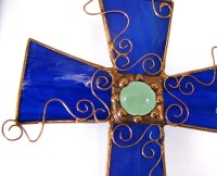 Stained Glass Cross with Copper wire filagree by Groovyglass