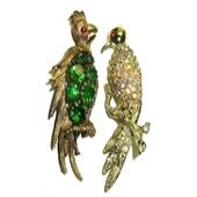 Vintage Exotic Bird Brooc...