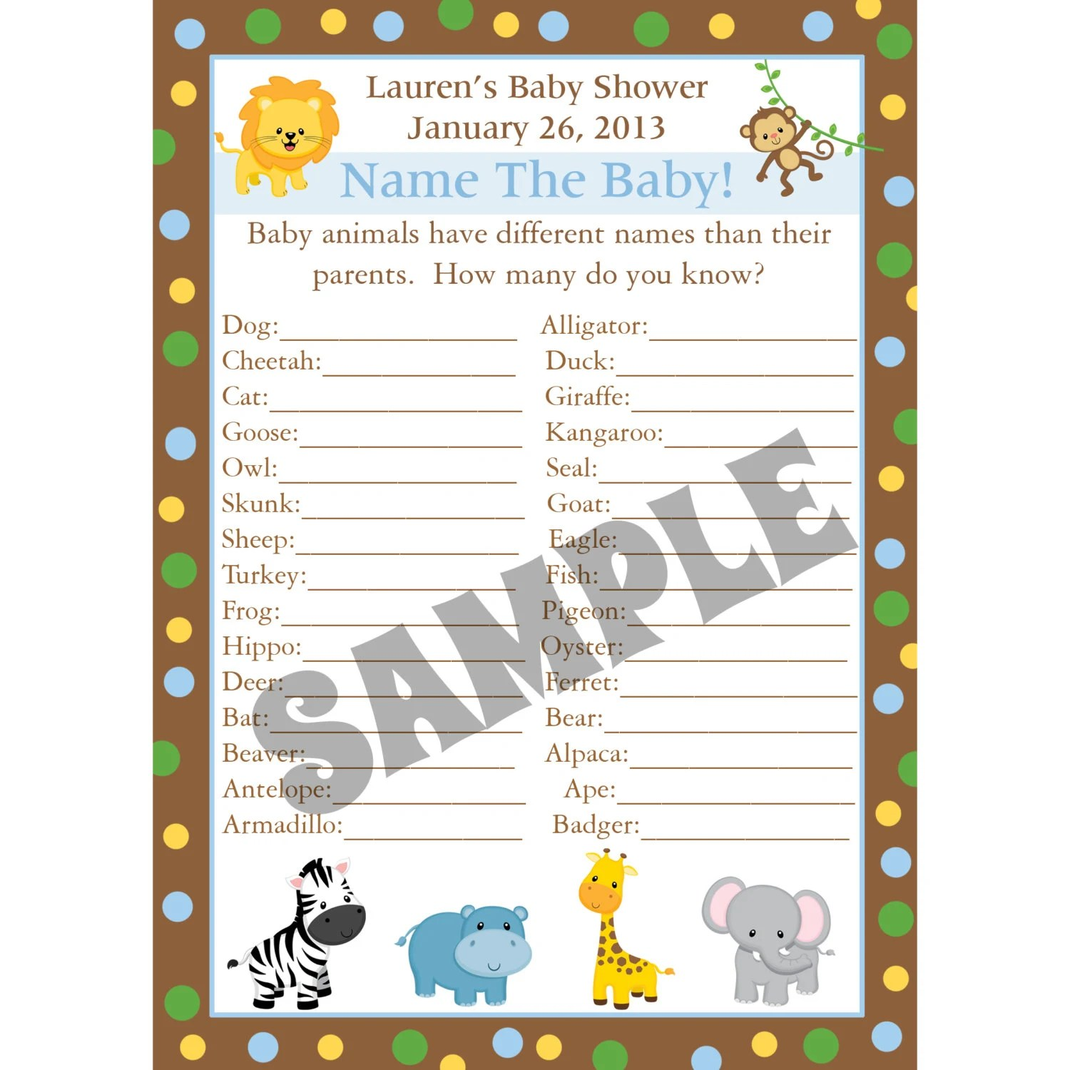 24 Personalized Baby Shower Baby Animal Name Game Cards