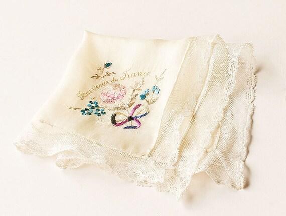 French Embroidered Silk Souvenir Handkerchief Hankie WW1