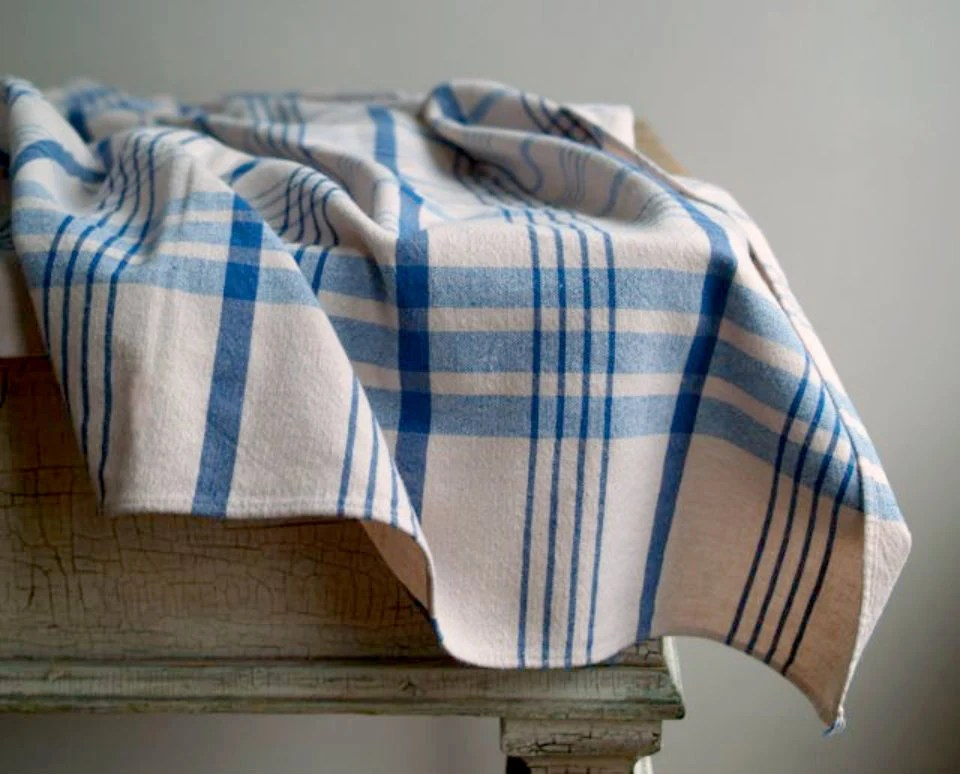 Vintage Tablecloth In Blue And White Plaid Country Kitchen