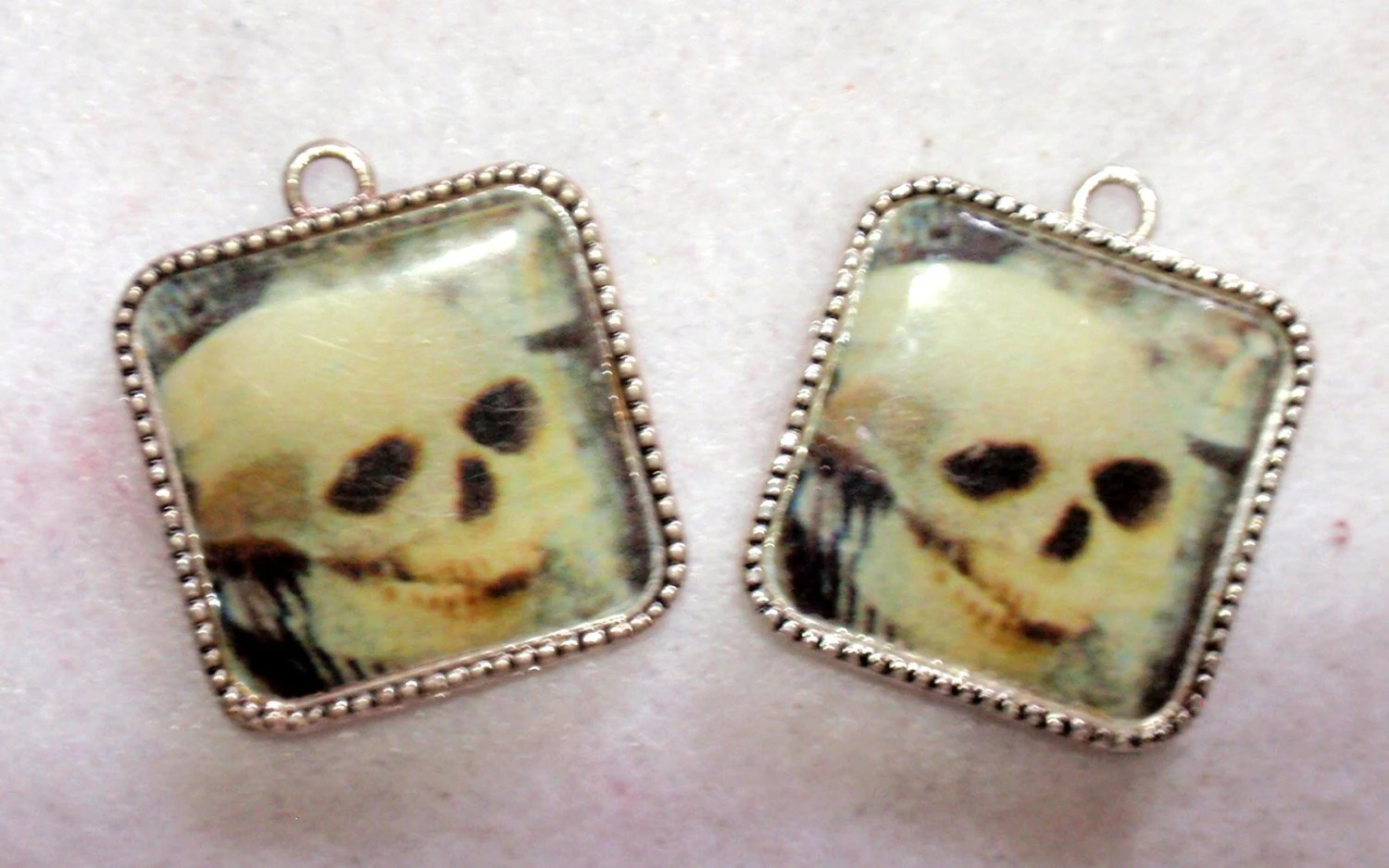 Vintage Skull Photo Charms Square Marked AAi From the Late 80s - TUTreasures