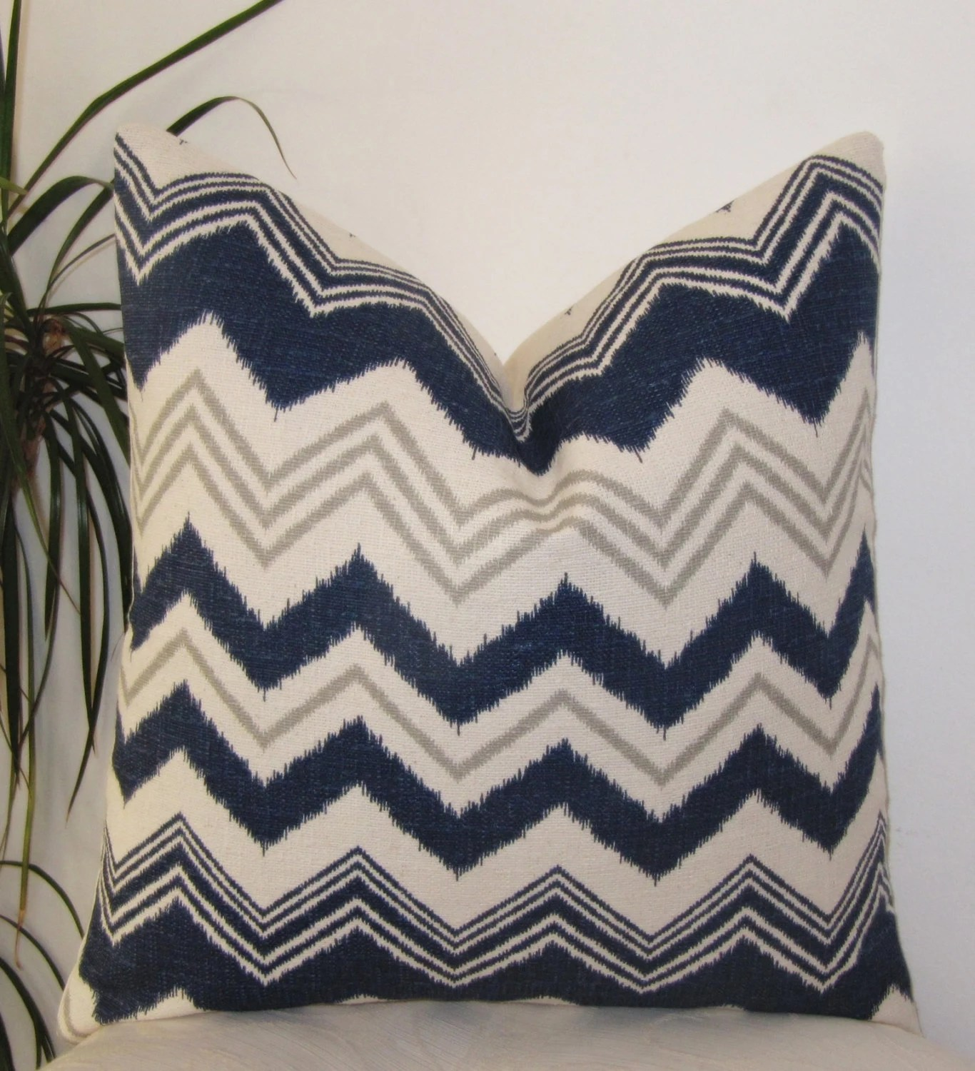 Navy Blue Ivory and Gray Zig Zag Pillow Cover Decorative