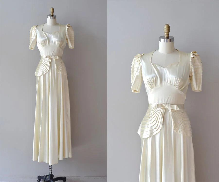 1930s Wedding Dress / Silk 30s Wedding Dress / By DearGolden