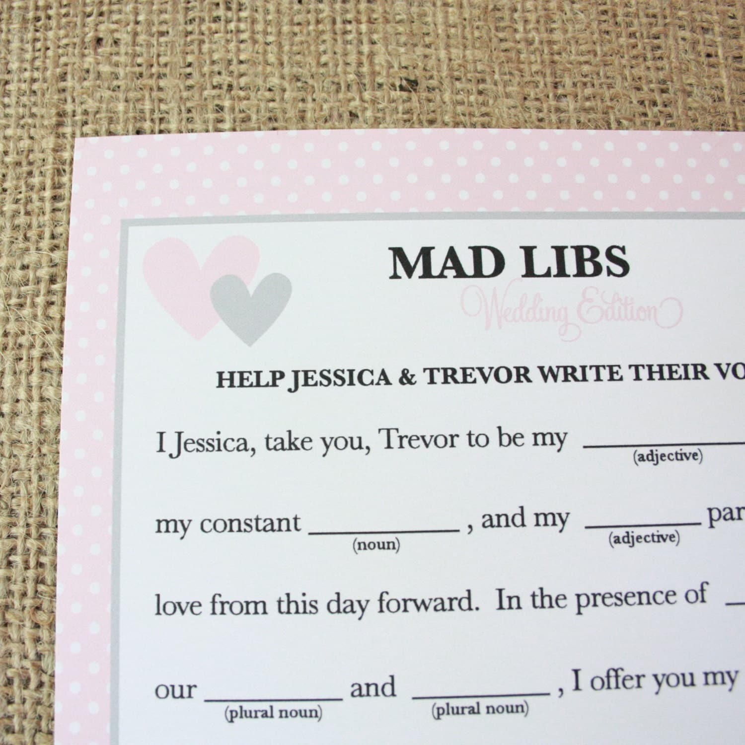 Personalized Mad Libs Wedding Vows Printable By Printyourparty