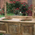 Your custom made rustic barn wood double vanity with doors or drawers