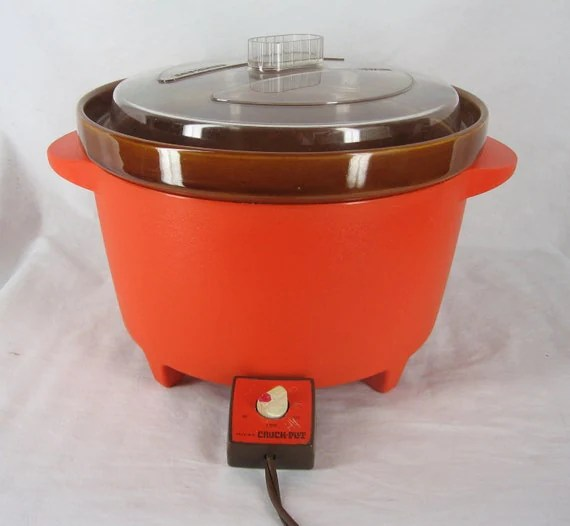 Vintage Rival Crock Pot Retro Bright Orange by Craftyseller