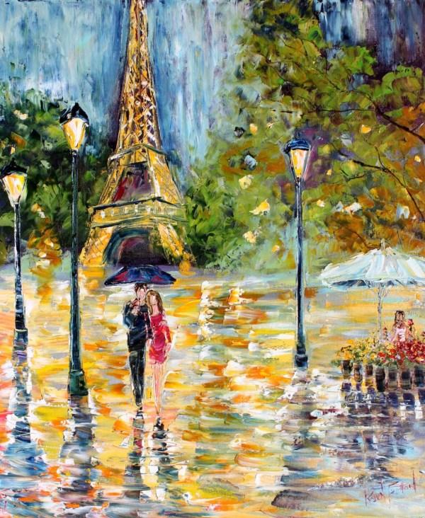 Original Oil Painting Paris Rain Romance Palette Knife