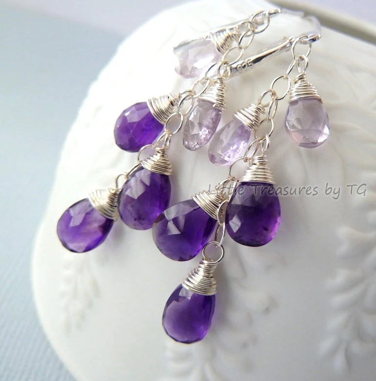 Purple and Lavender Amethyst earrings. Dangle. Birthstone earrings. Wire wrapped. Drop earrings. Ready to ship. Silver earrings. Gift ideas