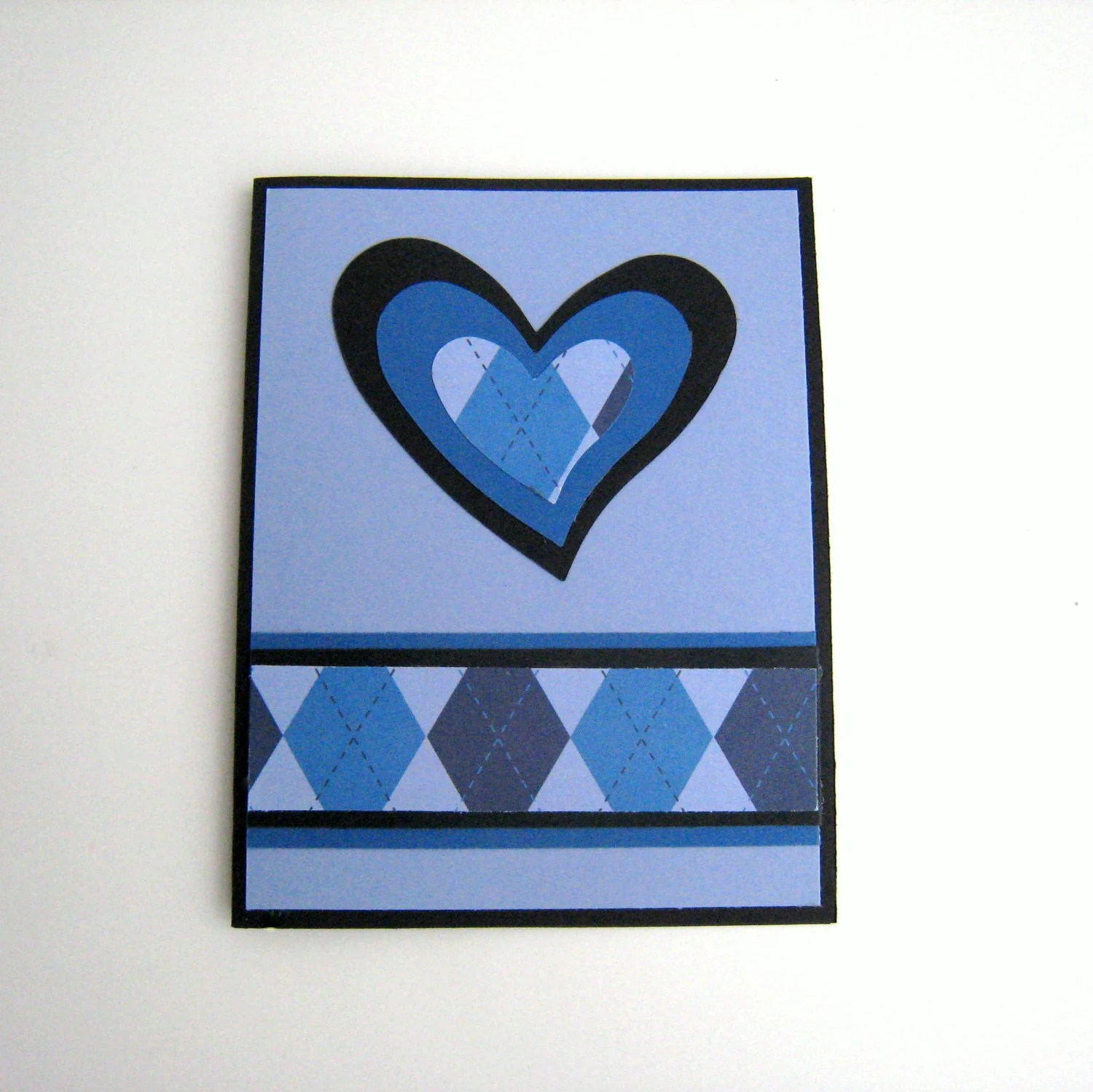 Masculine Valentine Card Love Card or Note Card Handmade Blue and Black Argyle Heart Note Card Blank Inside