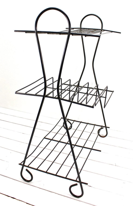 Mid Century Metal Wire Shelf Atomic Bookshelf Side by