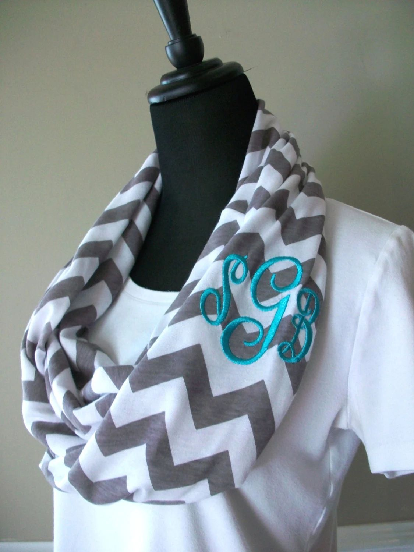chevron monogram scarf