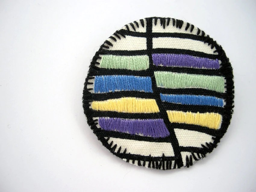Embroidered brooch in purple, blue, yellow - color block jewelry - textile brooch - FishesMakeWishes