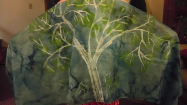 Green blue tree of Life tallit with tree of life tallit clip