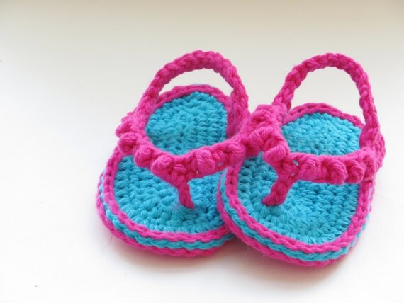 Crochet Pattern, Baby Flip Flops or Thongs for Girls, Crochet Pattern in 4 sizes pdf pattern